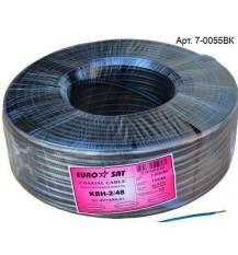 RG-59 3с-2v+2*0.51 EuroSAT КВН -2  (кабель коаксиальный с питанием) чёрный